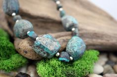Natural Turquoise & Sterling Silver Necklace, Semi Precious Stone Necklace, Beaded Necklace, Handcrafted, Gift for Her, Valentine Gift by IvanRoseCreations on Etsy