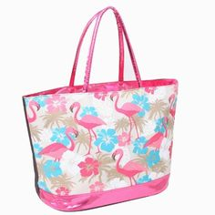 Flamingo Print Beach Bag.