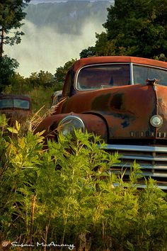 Out to Pasture Vintage Old Car Photograph Landscape by McAnany