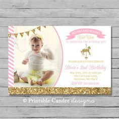 Pink and Gold Carousel Invitation  DIY Custom by printablecandee, $10.00