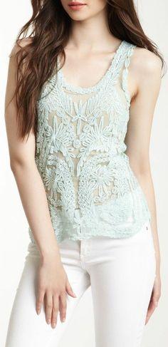 Mint Lace Tank & White