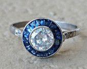 Vintage Art Deco Diamond Sapphire Halo Target Engagement Ring in Platinum