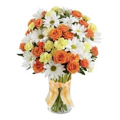 Orange spray roses, yellow mini carnations and white daisies combine for a beautiful bouquet. Yellow Carnations, Mini Carnations, Send Flowers Online, Anniversary Flowers, Cheap Flowers, Fresh Flowers, Rose Arrangements, Same Day Flower Delivery, Pink Petals