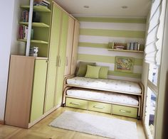 Green Themes Decoration of Teenage Bedroom - Home Interior Design - 26308
