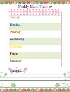 Our Way to Learn: Weekly Menu Planner {free printable!}