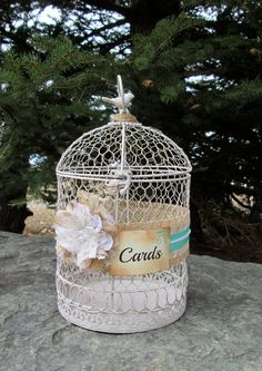 Tiffany Blue Wedding Birdcage - Bird Cage Card Holder - Wedding Card Box~Decorative Bird Cage~Birthday~Anniversary~Baby Shower~Bridal Shower by My Montana Homestead on Etsy