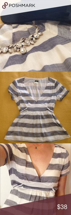 1 hr sale! J. Crew cotton blouse, size 6 J. Crew. Beautiful condition (like new), size 6, 95% cotton, 5% ramie, grey and white striped, tie in back, zipper on side, elastic on upper sleeves, short sleeves. Great for summer! J. Crew Tops Blouses