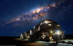 """Under the Milky way... Milky way over Pilbara     Photo Credit : Matt Hutton    Matt Hutton Photography    """"The photo was taken in the Pilbara, that's the Northen region of Western Australia.""""    """"This image was made up of a few exposures, one to correctly expose for the milky way, one for the loco and another to expose for the lights and inside the cab! The moon was over my left which provided some nice light!""""    www.matthuttonpho..."""