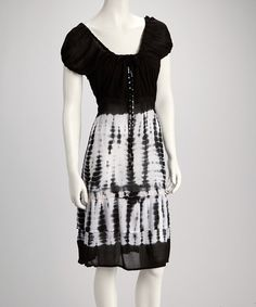 Take a look at this Black Tie-Dye Puff-Sleeve Dress by Raya Sun on #zulily today!
