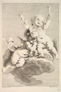 Jacques Gabriel Huquier | Two Cupids, One Holding Torches | The Metropolitan Museum of Art