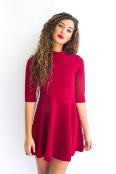 Elbow sleeve fit and flare dress with a sweetheart detail on the bust. Style with a thin waist belt and some heels for a sophisticated dressy look or wear casually with tennis shoes! This dress is also available in black.
