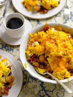 Breakfast bowl  2 T butter   8 lrg eggs   1 16-oz bag frozen hash browns or Tater Tots, thawed   1 lb pork sausage   1 lb bacon   1 9-oz package cheese and roasted garlic tortellini  10 oz sharp cheddar cheese, grated (about 2½ cups)