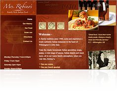 Mrs. Robino's Italian Restaurant website design. Had fun doing this site for a Wilmington Delaware mainstay.