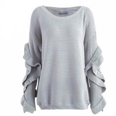 The Emily Ruffled Sweater is a casual lounge pullover knit sweater that can be off one shoulder or both, with loose, ruffled sleeves and a wide collar. Cute Sweaters For Fall, Winter Sweaters, Sweaters For Women, Ruffle Sleeve, Dress Me Up, Ruffles, Autumn Fashion, Trending Outfits, Style Inspiration