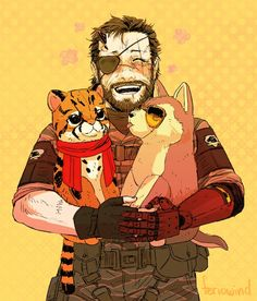 Mgs ~ Big Boss with a Ocelot plushie and a Wolf like Kaz