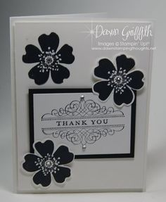 Dawn Griffin: Dawn's Stamping Thoughts Morning Meadow (Hostess stamp) punched with Pansy Punch. Basic Rhinestones.
