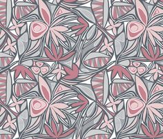 Floral Bliss (Pink and Gray) fabric by brendazapotosky on Spoonflower - custom fabric
