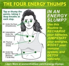 The Four Energy Thumps. In an Energy Slump? Use this routine to RECHARGE your batteries, JUMP START your energies, ACTIVATE your immune system, BOOST your metabolism, and DETOX naturally.