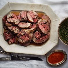 Braised Lamb with Rosemary and Garlic served with salsa verde
