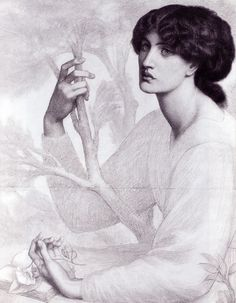 The Day Dream - study, Dante Gabriel Rossetti (1878) | Ashmolean Museum, Oxford | Drawing - chalk
