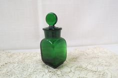 Vintage Green Glass Perfume Bottle Scent Bottle Ground Glass Top