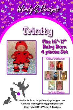 """****TRINITY****  ***KNITTING PATTERN ONLY***  To fit 16-17"""" Baby born or similar size dolls  Pattern contains instructions for Cardigan, shorts, beanie and booties."""