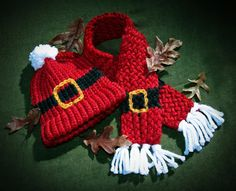 Santa hat & scarf, Lion Brand Hometown, buckle is Patons Shetland Chunky in embroidered chain stitch