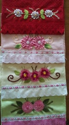 This Pin was discovered by Luc Ribbon Embroidery Tutorial, Silk Ribbon Embroidery, Embroidery Stitches, Embroidery Patterns, Hand Embroidery, Satin Ribbon Roses, Ribbon Art, Crazy Quilting, Lace Decor