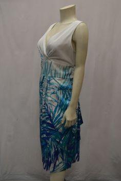 "MAXMARA ""ARIZIA"" Sz 14 White/Blue Leaves Printed Dress"