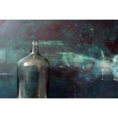 Vintage. Big blue-green bottle. Glass bottle. Vintage home decor. (330 ARS) ❤ liked on Polyvore featuring home, home decor, glass home decor, vintage home accessories, aqua home decor, vintage home decor and vintage bottles