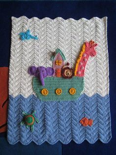 Noah's ark blanket - do the water in different shade of blue and add a rainbow - would be so cute! Crochet Baby Blanket Beginner, Baby Knitting, Crochet Crafts, Crochet Projects, Crochet Afgans, Manta Crochet, Knitted Baby Blankets, Baby Afghans, Crochet Baby Booties