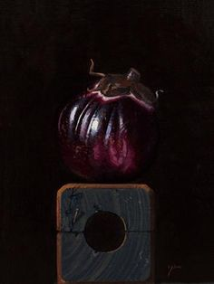 """Sicilian Eggplant on a Wood Block No. 2"" - Original Fine Art for Sale - ©Abbey Ryan"