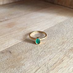 Simple or stacking brass ring with red by HurremSultanJewelry