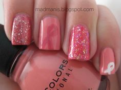 Breast Cancer Nails. #nailart