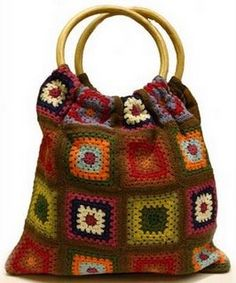 beautiful grannies square's tote
