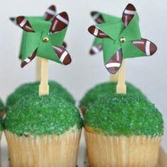 DIY football themed Super Bowl Cupcake Topper.