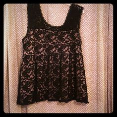 Look at this! Lace babydoll top by Torrid! Adorable lace babydoll top by Torrid. Size 2. Worn once. This top is so cute! Black lace overlay with taupe underpiece.  Elastic empire waist. torrid Tops Blouses