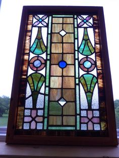 Antique Stained Glass Window Architectural Salvage Church Fragments Framed W446 | eBay