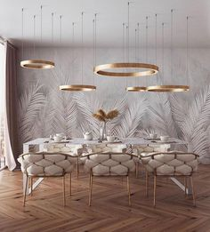 of the day: White + Gold dining room. Love the mesmerizing lighting and color s… of the day: White + Gold dining room. Love the mesmerizing lighting and color scheme! Room Interior, Home Interior Design, Interior Decorating, Luxury Interior, Deco Design, Design Case, Dining Room Design, Home Fashion, Living Room Decor