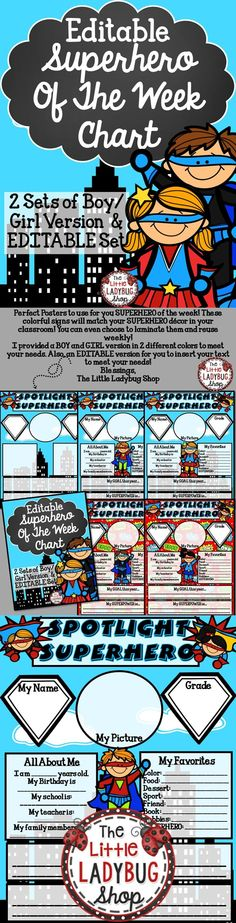 "SUPERHERO Theme {Student of the Week} | Superhero | Student of the Week | Star Student | EDITABLE | BOY/ GIRL Set   SUPERHERO Theme {Student ""SUPERHERO"" of the Week} colorful signs/ posters will match your SUPERHERO décor in your classroom"