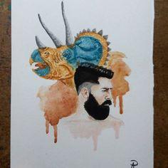#1 - #triceratops.  Nova série de ilustrações na área...Ainda não dei o nome, mas basicamente será uma série de ilustrações relacionadas com #dinossauros. Segue o perfil que todo dia é uma ilustra nova. 😉  __________ #illustration #ilustração #art #artist #animals #dino #dinissauros #x #homem #boy #like #desenho #paint #tattoo #painting #watercolor #aquarela #tradictional #tradicional #instagood #série #1
