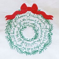 Christmas Stocking Stuffer Idea -Dickens Christmas Carol Quote Christmas Wreath on Linen Towel