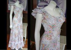 Vintage 1970s White Floral Calico Prairie Hippie Ruffle Maxi Dress Victorian Steampunk by WestCoastVintageRSL, $68.00
