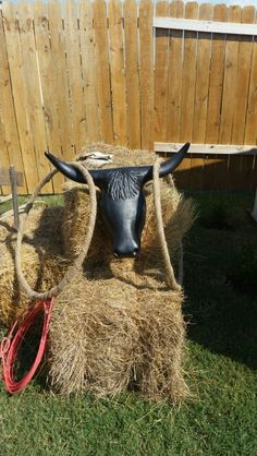 Western theme birthday party game...Rope the bull using hula hoops wrapped in burlap.   The adults used a real lasso.