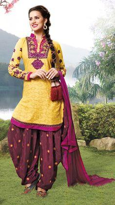 USD 50.64 Yellow Cotton Resham Work Patiala Salwar Suit  40329