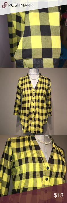 """ Miley Cyrus  Yellow and black flannel. Super fun and cute yellow flannel with cinched waist. 3/4 Sleeves. *Small stain on sleeve (Pictured)*   🎀PIT2PIT: 19"""" 🎀LENGTH: 24"""" Miley Cyrus & Max Azria Tops Button Down Shirts"""