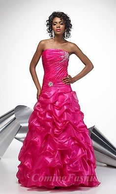 Hot pink dress with frills at the bottom.  Luv it!