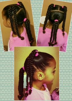 Mixed black braids girls kids curly curls natural hair pretty beautiful easy pink cute simple sleek tame biracial