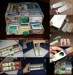 Cajónera con bote de leche Cd Crafts, Recycled Crafts, Diy And Crafts, Recycled House, Diy Recycle, Reuse, Diy Cardboard, How To Make Box, All Paper