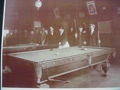 Billard Pool Hall Saloon Sepia Card Stock Photo 1900s